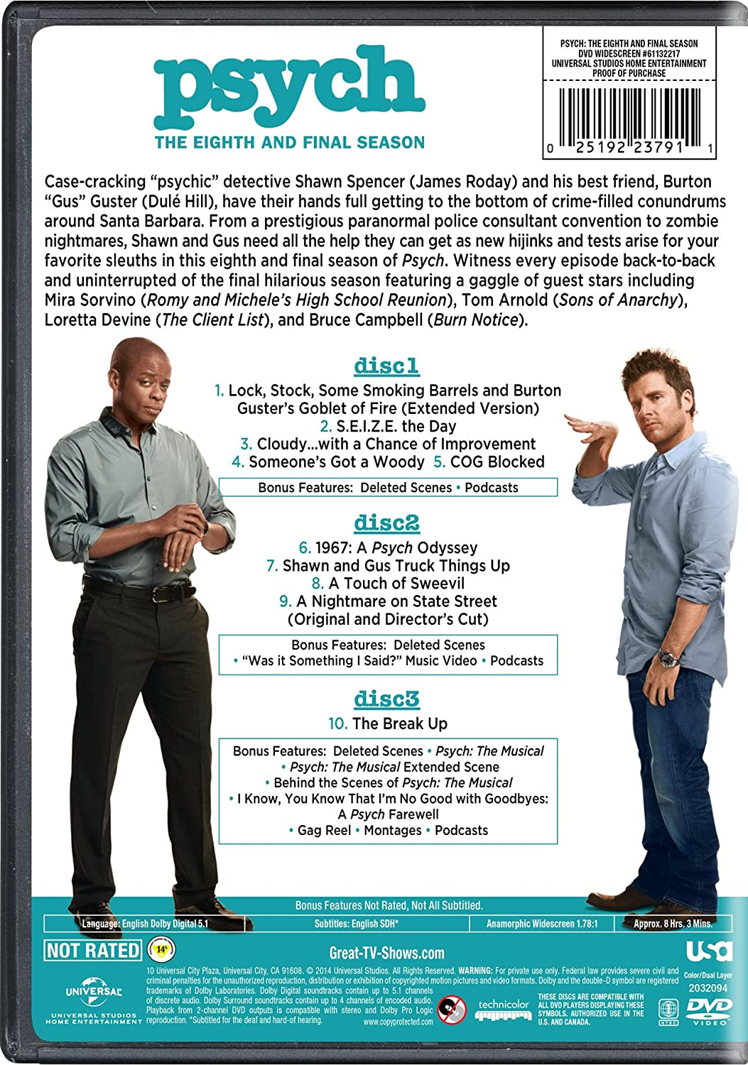 Amazon.com: Psych: The Eighth and Final Season: James Roday, Dule ...