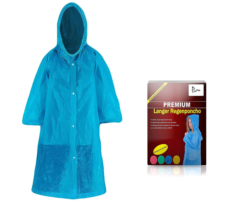 Regenmantel mit Kapuze zum Zuknöpfen für Erwachsene (1,60m bis 2,00m) - Stabiler Unisex Regenumhang wiederverwendbar mit langen Ärmeln für Festivals - Notfall Regenmantel, Fahrrad Regenmantel Fahrrad Regenponcho (blau)