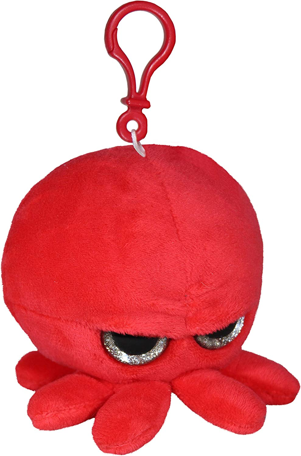 Grumpy Baby Octopus - Plush Keychain Pendant with Clip - Cute Super Soft Plush Stuffed Animal Toy decoration backpack purse handbag accessories - Red, 3