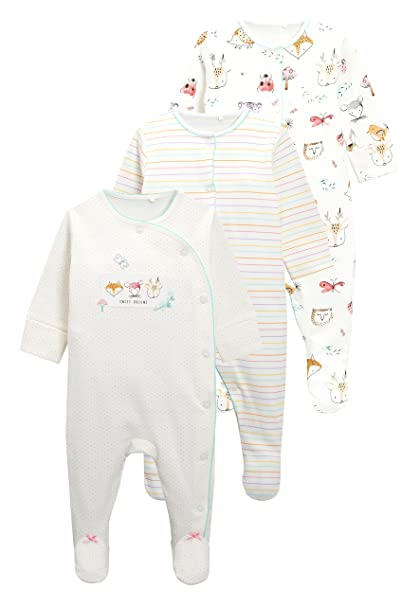 next Bebé-Niñas Pack De Tres Pijamas Tipo Pelele con Estampado Animal De Woodland (
