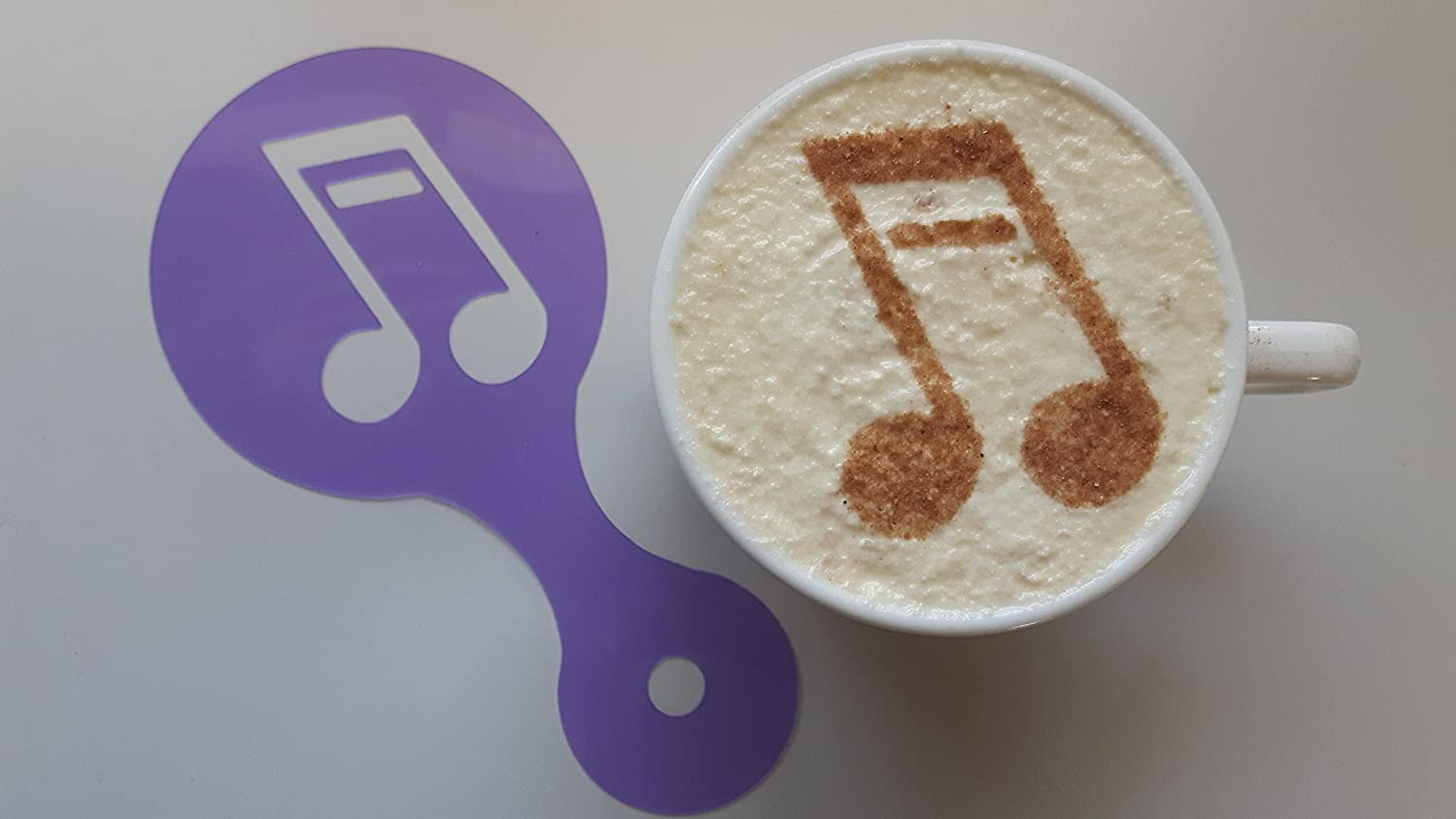 cappuccino stencils reusable many times present gift musician orchestra cafe 2 x double music note coffee cup