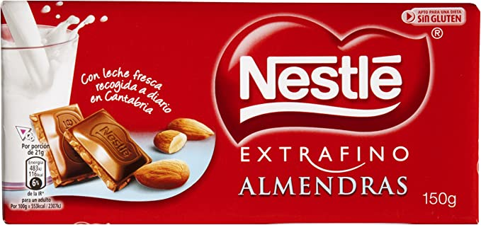 Nestlé Extrafino Chocolate con leche extrafino y almendras - 150 ...