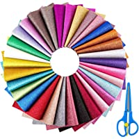 Faux Leather Sheets, Cridoz 32 Pack Glitter Vinyl Sheets PU Leather Fabric Sheet for Bows Earring Making, Jewelry Making…