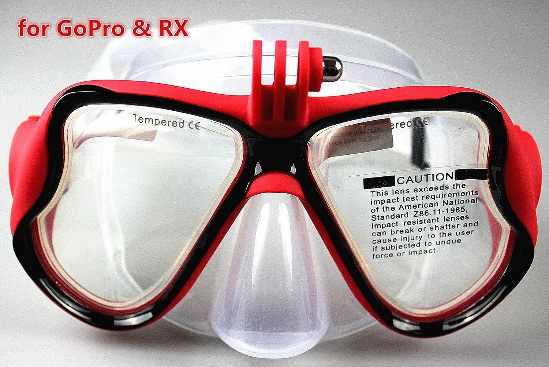 YEESAM SWIM Máscara de buceo de cristal revestida para Submarinismo y Snorkel Compatible con Cámara GoPro Go Pro Hero 1 2 3 3+ 4 - Lentes correctoras RX ...