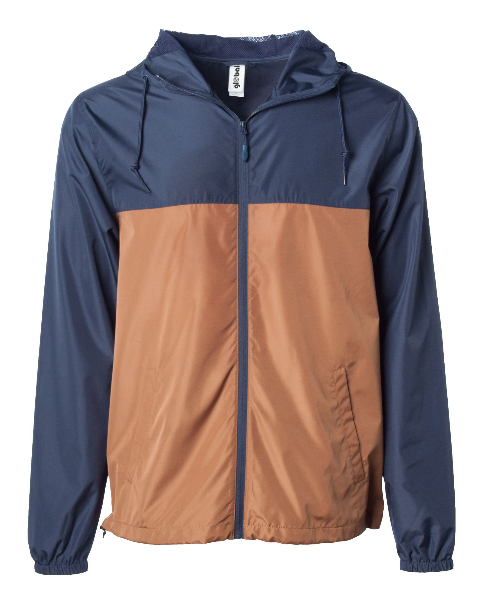 Global Men's Hooded Lightweight Windbreaker Rain Jacket Water Resistant Shell (Navy/Saddle, Large)