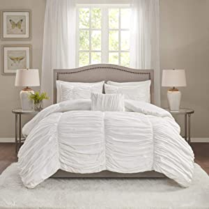 Madison Park Comforter Set-Textured Luxury Design All Season Down Alternative Bedding, Matching Sham, Decorative Pillows, King(104