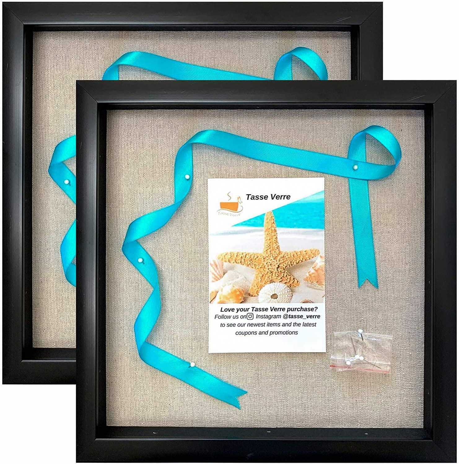 Tasse Verre 12x12 Display Shadow Box Frame (2-Pack) with Linen Background and 16 Stick Pins - Ready to Hang Shadowbox Picture Boxes - Easy to Use - Box Display Case Baby and Sports Memorabilia Wall