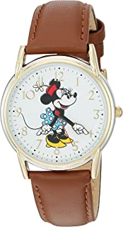 b2baa0e1c76d Amazon.com  Disney Women s MCK371 Minnie Mouse Brown Strap Watch ...