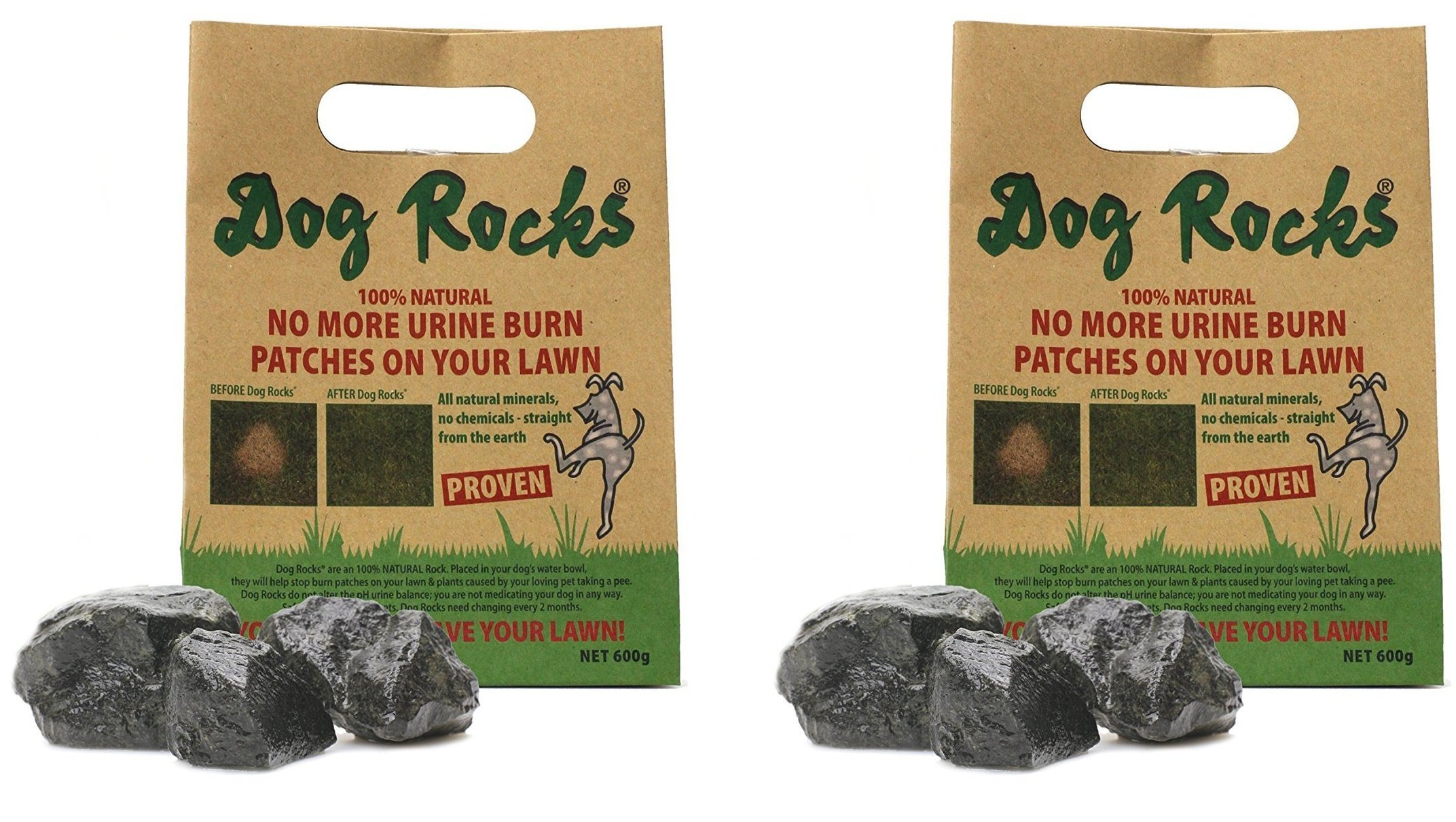 Dog Rocks - 100% Natural Grass Burn Prevention - Prevents Lawn Urine Stains - Two Large Bulk Bags - 12 Month Supply