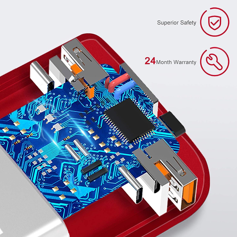 cargador port/átil de alta capacidad port/átiles iPad compatible con varios tel/éfonos m/óviles CoolReall Power Bank 20000 mAh con dos salidas y entradas de alta velocidad etc Rojo