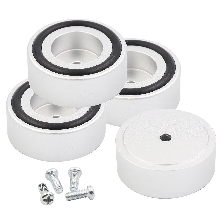 PAPRI 4PCS Silver Solid Aluminum Anodized Sand Blasting 39x16MM Speaker Feet Pad Audio Tube Amp CD Player Cabinet Isolation Feet Pad PRSAM39-16-S