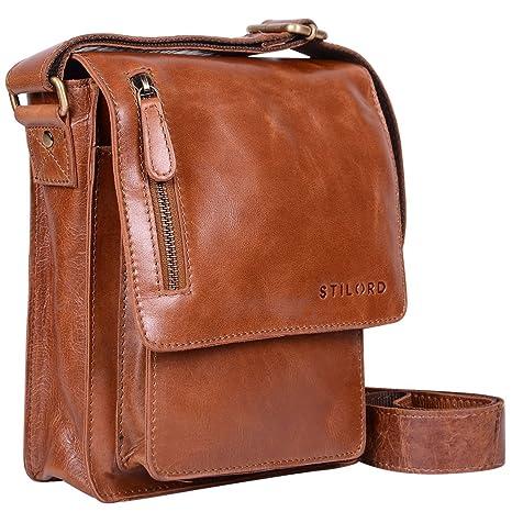 9ebea542df STILORD 'Finn' Borsello da uomo in vera pelle Borsa a tracolla per Tablet  da 8, 4 pollici in cuoio Resistente borsetta messenger stile vintage di ...