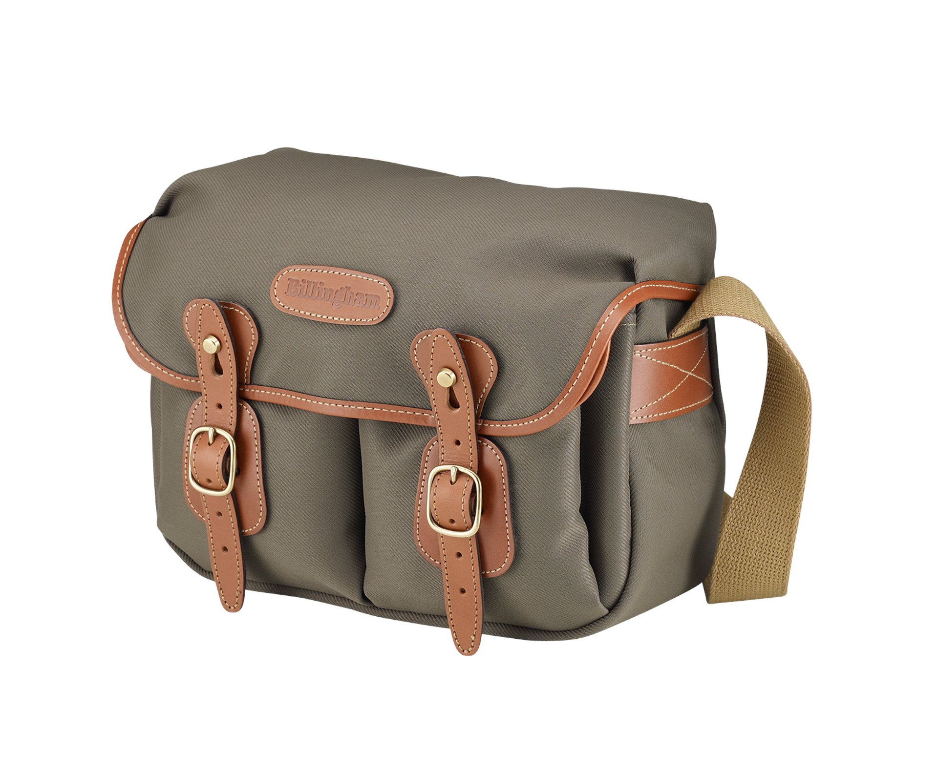 Billingham Hadley Small, Camera or Document Shoulder Bag, Sage Canvas with Tan Leather Trim and Brass Fittings