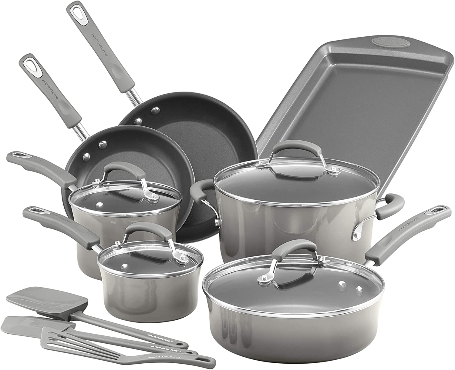 Rachael Ray 19019 Brights Nonstick Cookware Pots and Pans Set, 14 Piece, Sea Salt Gray