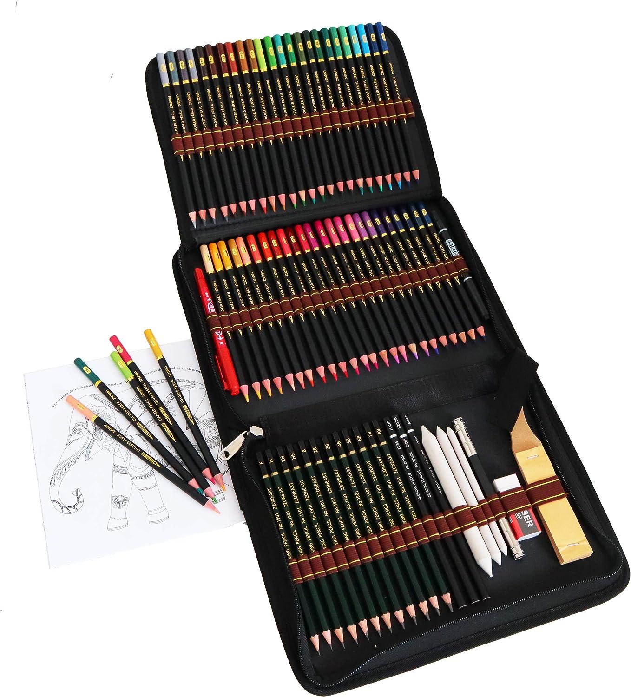 72 l/ápices de colores para adultos,lapiz para dibujar y bocetos,kit de dibujo profesional con colores,colores lapices,carb/ón,L/ápices Pastel,Herramientas de dibujo y Caja de l/ápiz