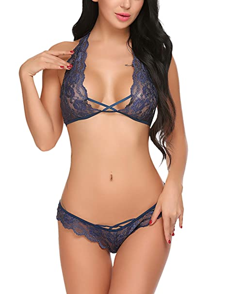 57d2721f7 Avidlove Sexy Bra and Panty Set Lace Lingerie Strappy Babydoll Bodysuit 2  Piece Outfits (S