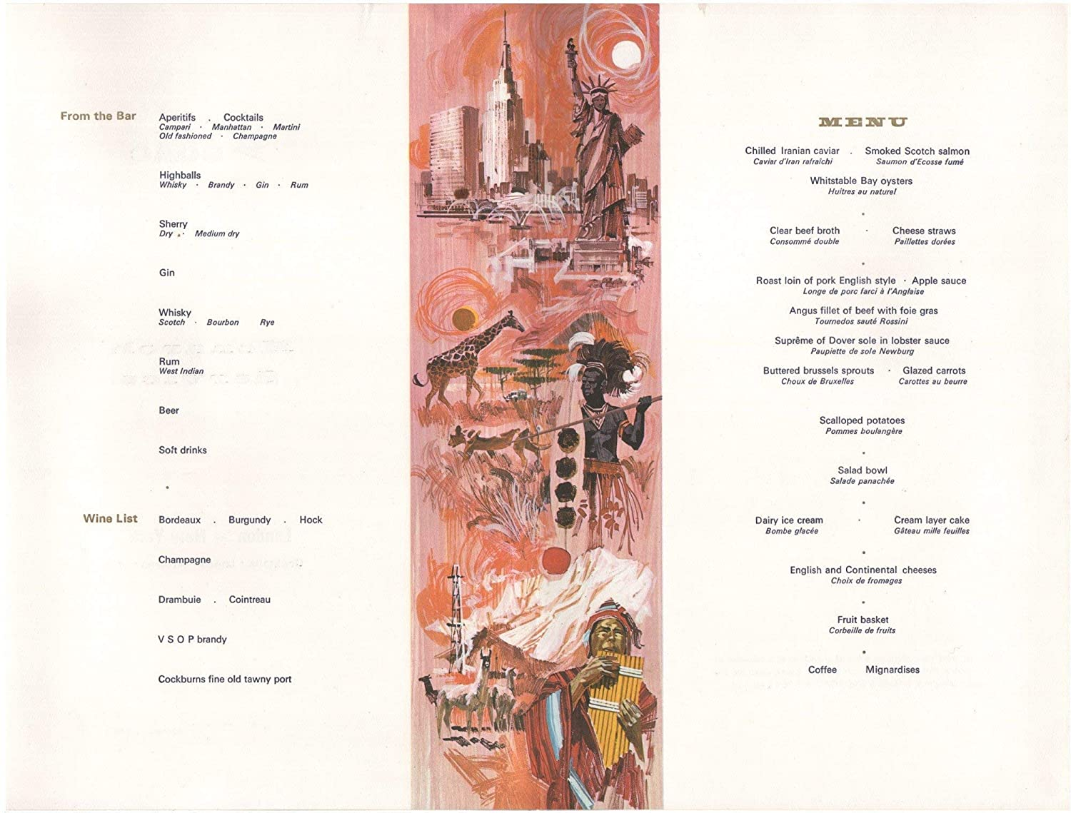 Vintage 1967 British American Travel Luxury Airplane Retro Menu Art Print New York BOAC Monarch Service London