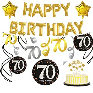 70th Birthday Party Decorations Supplies With Happy Balloons Photo Booth Props