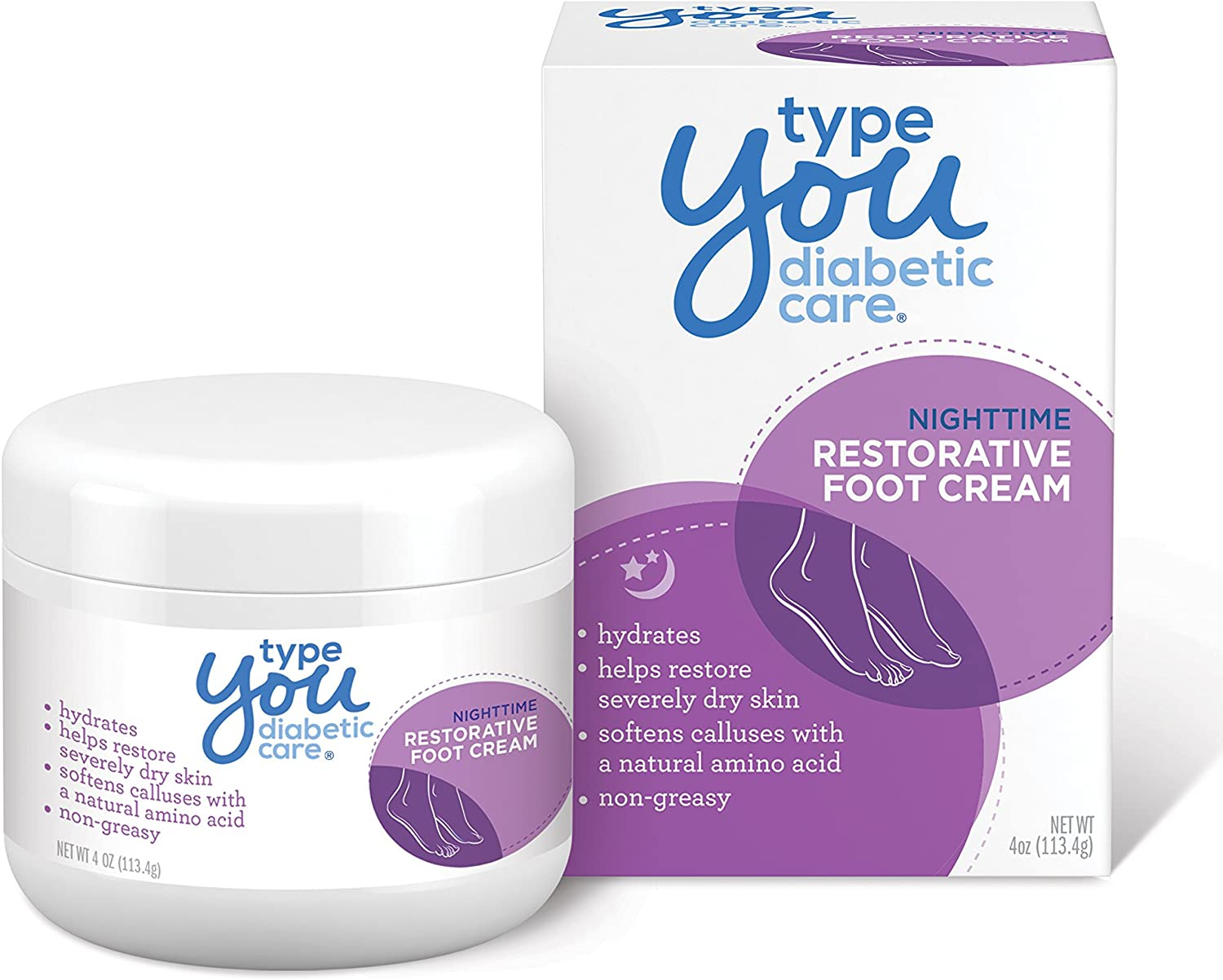 Type You Diabetic Care Foot Cream, Callus Remover and Foot Care for Dry and Cracked Feet, Safe for Diabetics, 4 oz