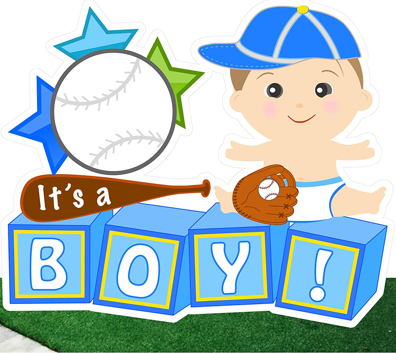 Cute News It's a Boy Baby Yard Sign Announcement - Welcome Home Newborn Birth Lawn Art Decoration - Outdoor Special Delivery Baseball Sports - Blue