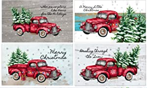 Red Truck Farmhouse Christmas Magnets ~ Set of Four ~ Rustic Refrigerator Magnets Christmas Decor