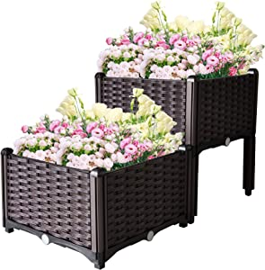 SUNVIVI OUTDOOR 2 Plastic Raised Garden Bed Elevated Planter Box Kit Rattan Pattern with Self-Watering Design and Compact Footprint, Perfect for Flowers Vegetables and Herbs Product Name