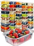 [50 只装,25 盎司] 带盖食品保鲜盒 - 食品容器吃饭准备塑料容器带盖食品准备容器带盖冷冻容器带盖一次性容器