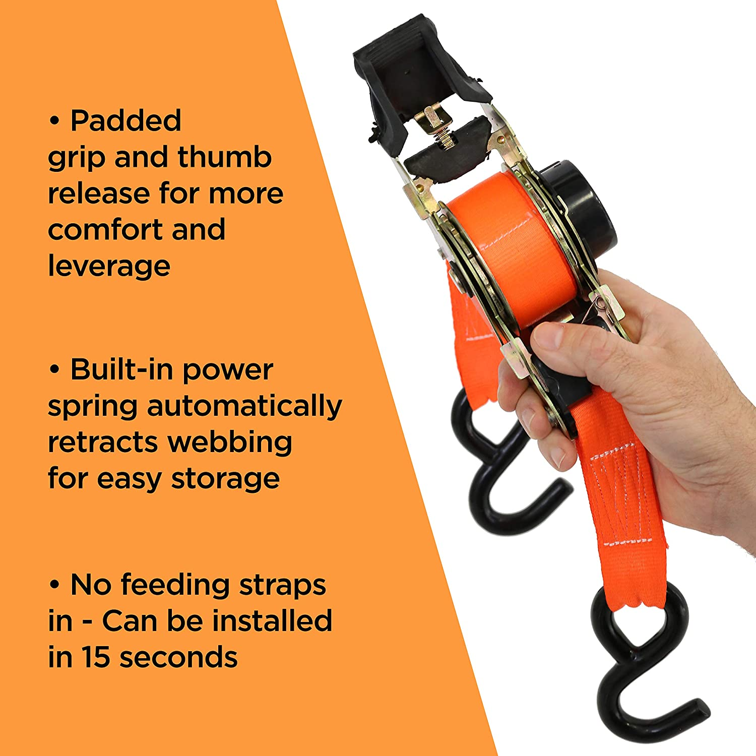 Boats and Appliances with Patented Technology 173W SmartStraps 10-Foot Retractable Ratchet Straps 3,000 lbs Break Strength Haul Motorcycles 1,000 lbs Safe Work Load