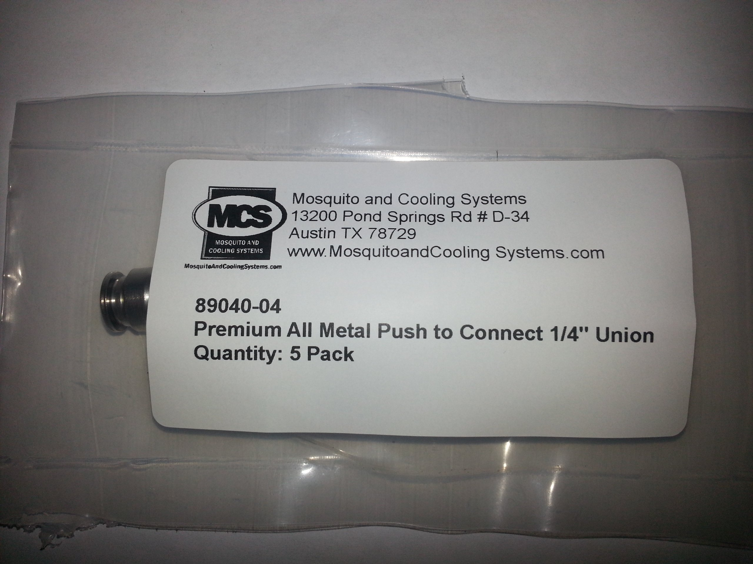5 Pack 1/4'' Push to Connect Premium All Metal ''Union Fitting'' for Mosquito Misting System by Alpha Technologies