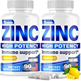 (2 Pack | 180 Capsules) Zіnс Picоlinаte 50Mg with Vіtаmіn C for Immune Support Booster - Zіnс Supplement for Men, Women…