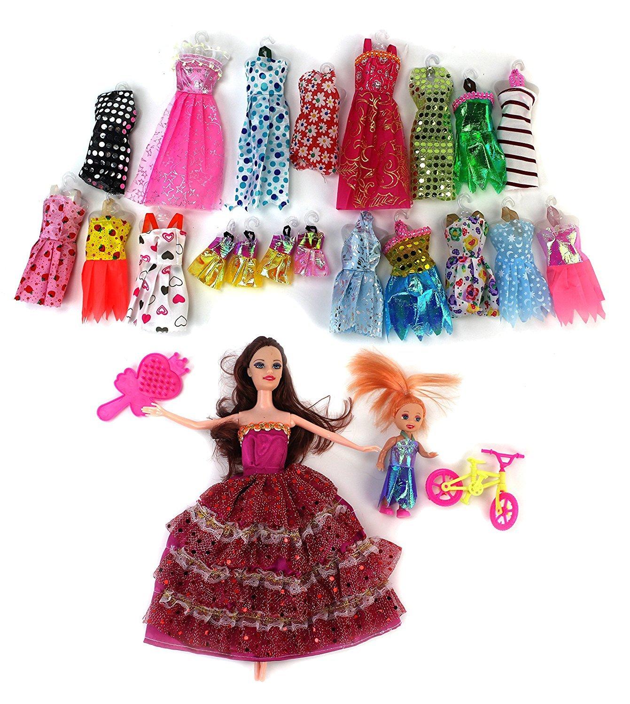 Madilynn BeautyファッションGirl Kid 's Toy人形ファッションVariety Set w / 2人形、18異なる服装、&アクセサリー   B0771TX3HG