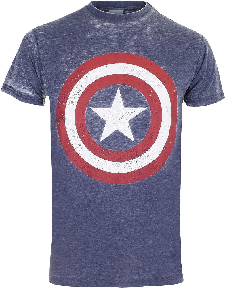 Marvel Camiseta Manga Corta Captain America Burnout Azul Marino M ...