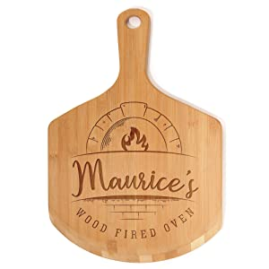 """BambooMN Custom Laser Engraved Small Wooden Oven/Pizza Peel Paddle - 17""""x12""""0.5"""" - Wood Fired Oven"""