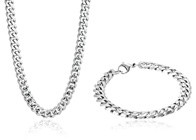 104685b0bf8 Men's Stainless Steel Cuban Link Curb Chain Bracelet/Necklace Set ...