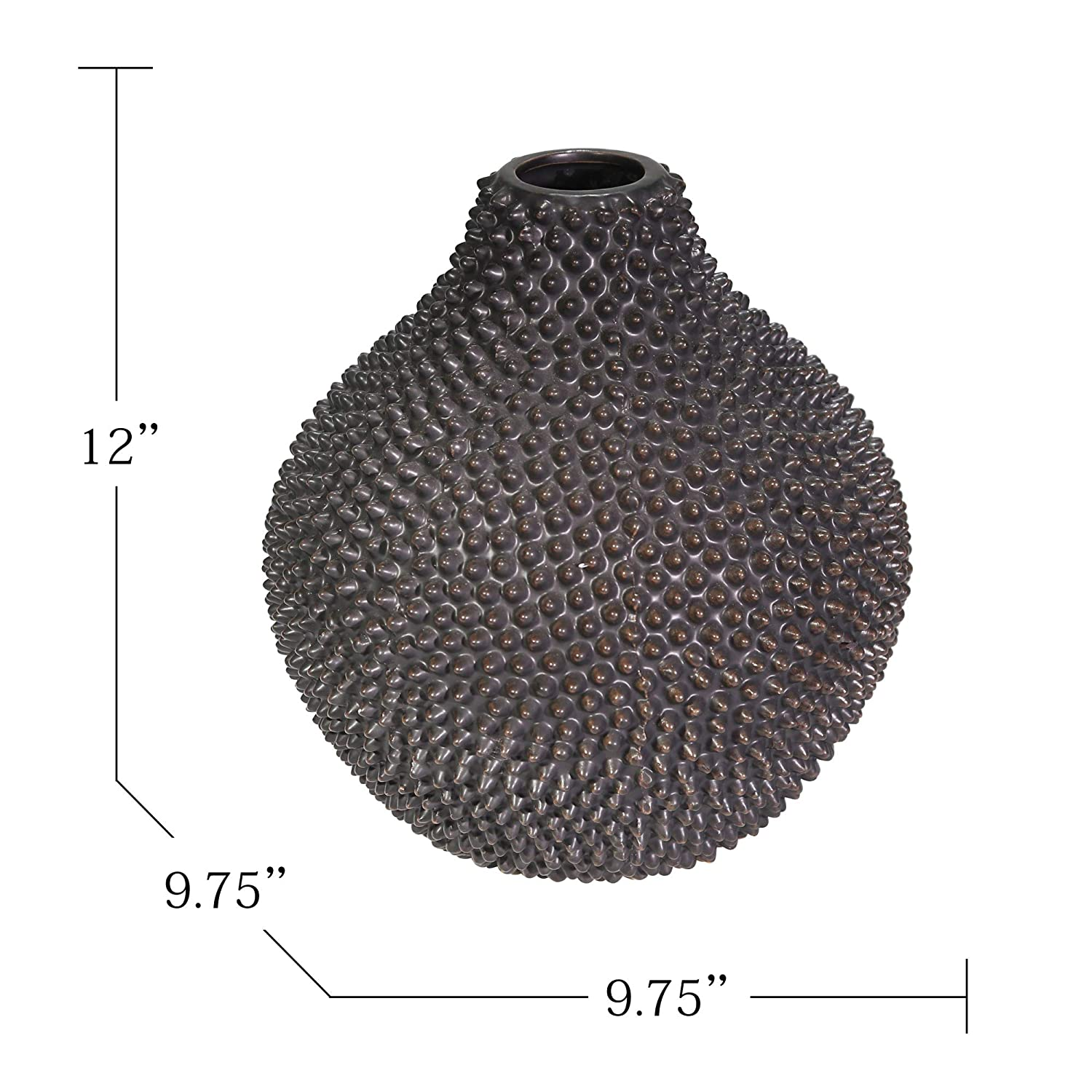 Matte Black 9.75 x 9.75 x 12 Inches, Sagebrook Home 12068-25 Decorative Ceramic Spike Vase