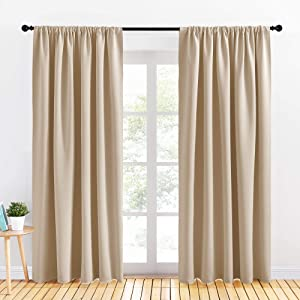 PONY DANCE Room Darkening Curtains - Rod Pocket Top Curtains and Drapes Solid Soft Window Panels Light Block for Living Room, 70 Wide by 84 in Drop, Biscotti Beige, 2 Pieces