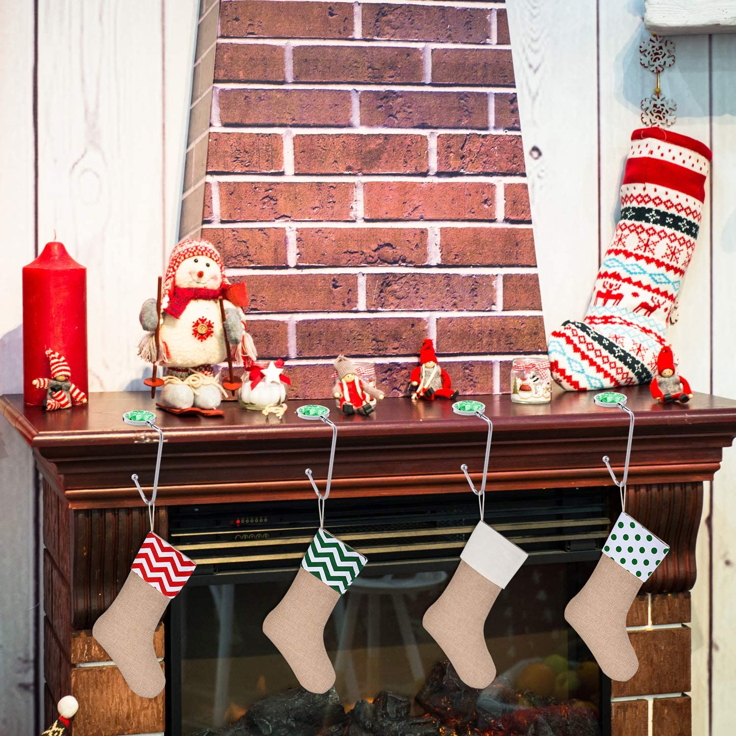 Sunshane 4 Pieces Christmas Stocking Holders Mantel Hooks Hanger Safety Hang Grip Stockings Clip for Christmas Party Decorations Red