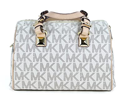 8378c29aa9ed Image Unavailable. Image not available for. Color  Michael Kors MD Grayson  Satchel Handbag Signature MK Vanilla PVC with Cross Body Strap