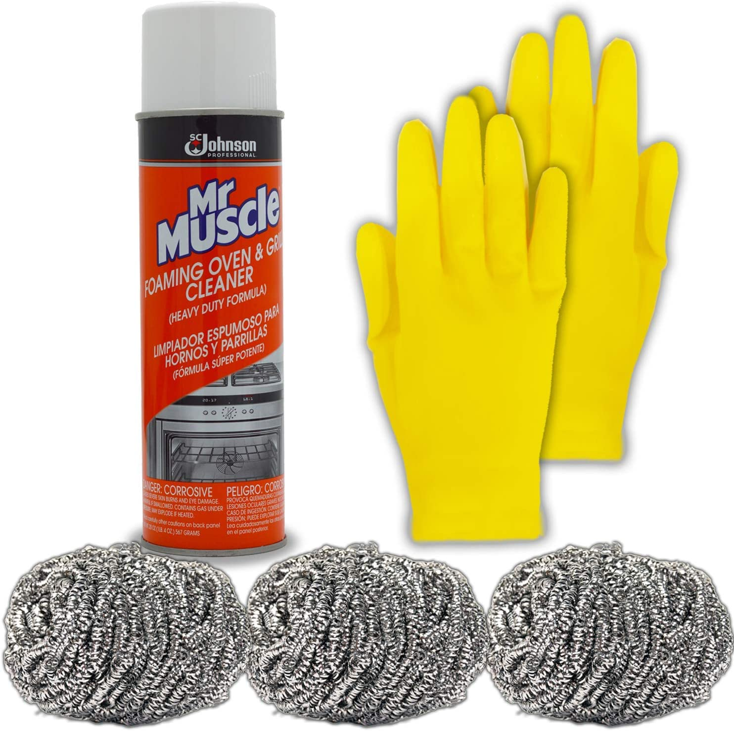 Mr Muscle Oven And Grill Cleaner Spray Kit: 20 Oz Mister Muscle Commercial Heavy Duty Professional Formula, 3 Stainless Steel Wool Scrubber Pads, Medium Long Reusable Rubber Gloves For Cleaning.