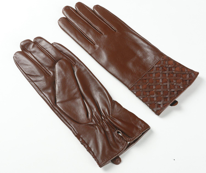 Ambesi Women's Fleece Lined Nappa Leather Winter Warm Gloves Brown S