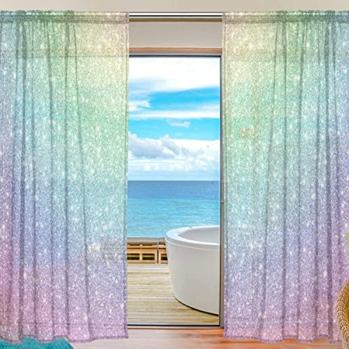 AGONA Beautiful Shiny Multicolored Sequins Sheer Curtains Window Voile Panels Drapes Tulle Curtains Semi Sheer Curtains 54