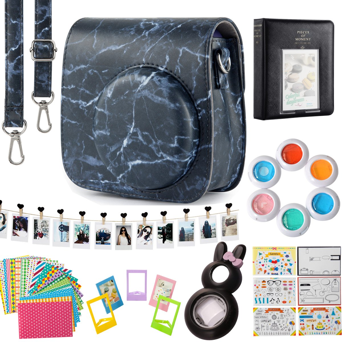 Flylther Compatible Mini 8 9 Camera 8-in-1 Accessories Bundles Set for Fujifilm Instax Mini 8 9 Instant Film Camera(Case,Albums,Frames,Film Stickers,Colored Filters,Selfie Lens) - Marbling