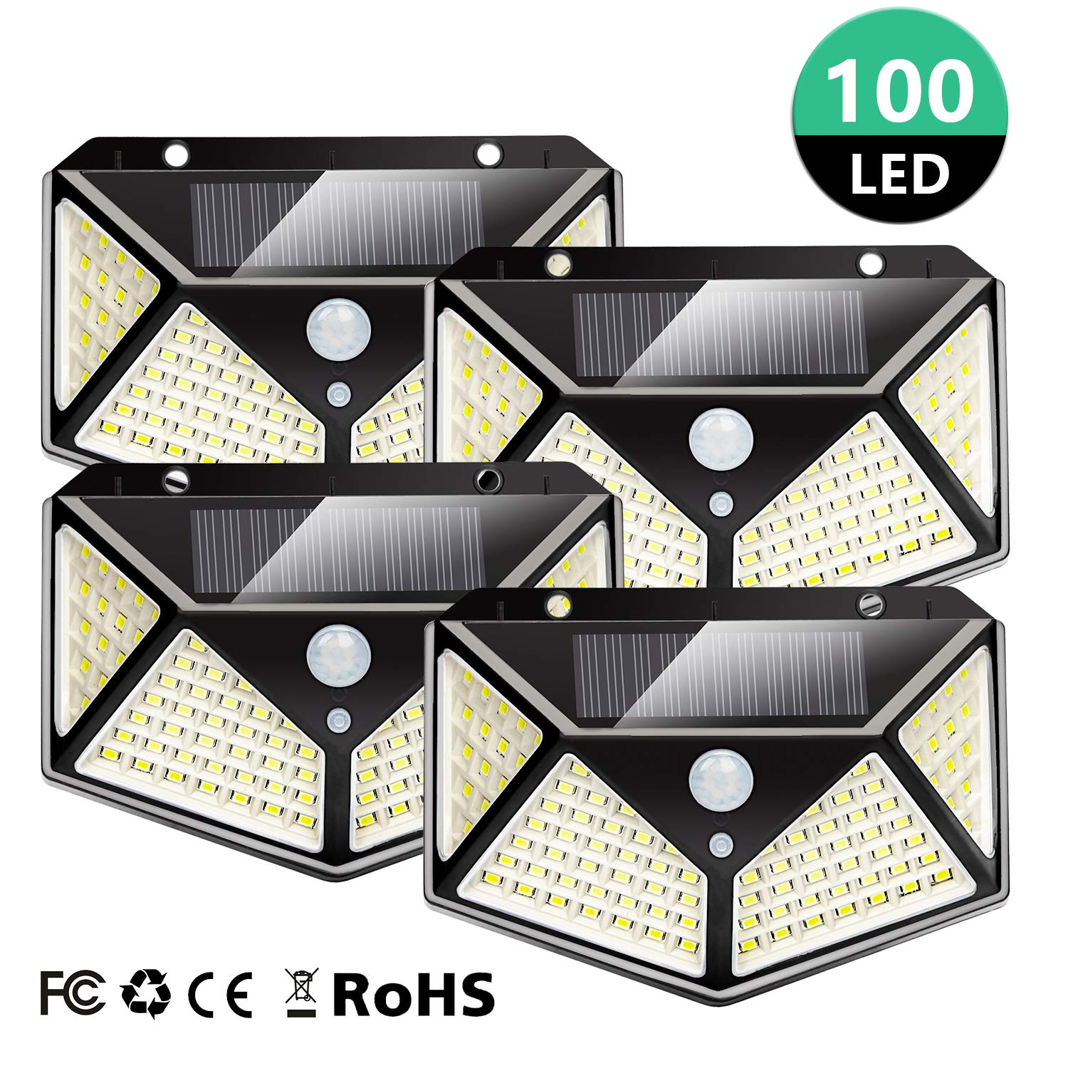 Otdair Solar Lights 100 LED Outdoor, 270° Wide Angle Wall Light, Solar Motion Sensor Light with 3 Modes Security Lights Wireless Waterproof for Outdoor, Front Door, Porch, Garage, Yard, 4 Pack