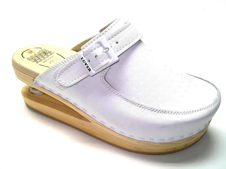 LUVER Zueco con muelle 127/A colores y tallas disponibles 40 EU|White