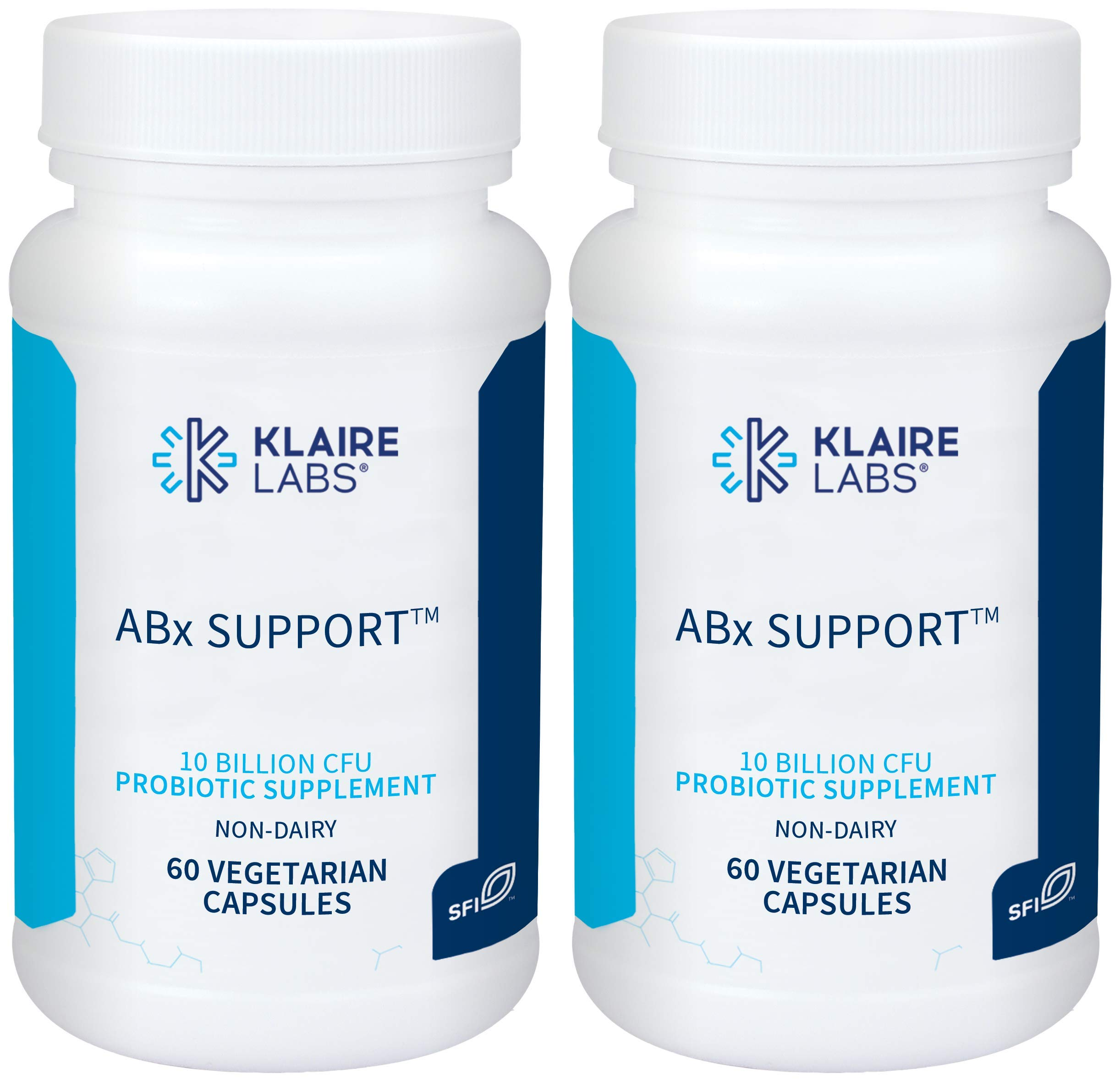 Klaire Labs ABX Support Probiotic - 10 Billion CFU Supplement for Support During Antibiotic Therapy, Hypoallergenic & Non-Dairy (60 Capsules / 2 Pack)
