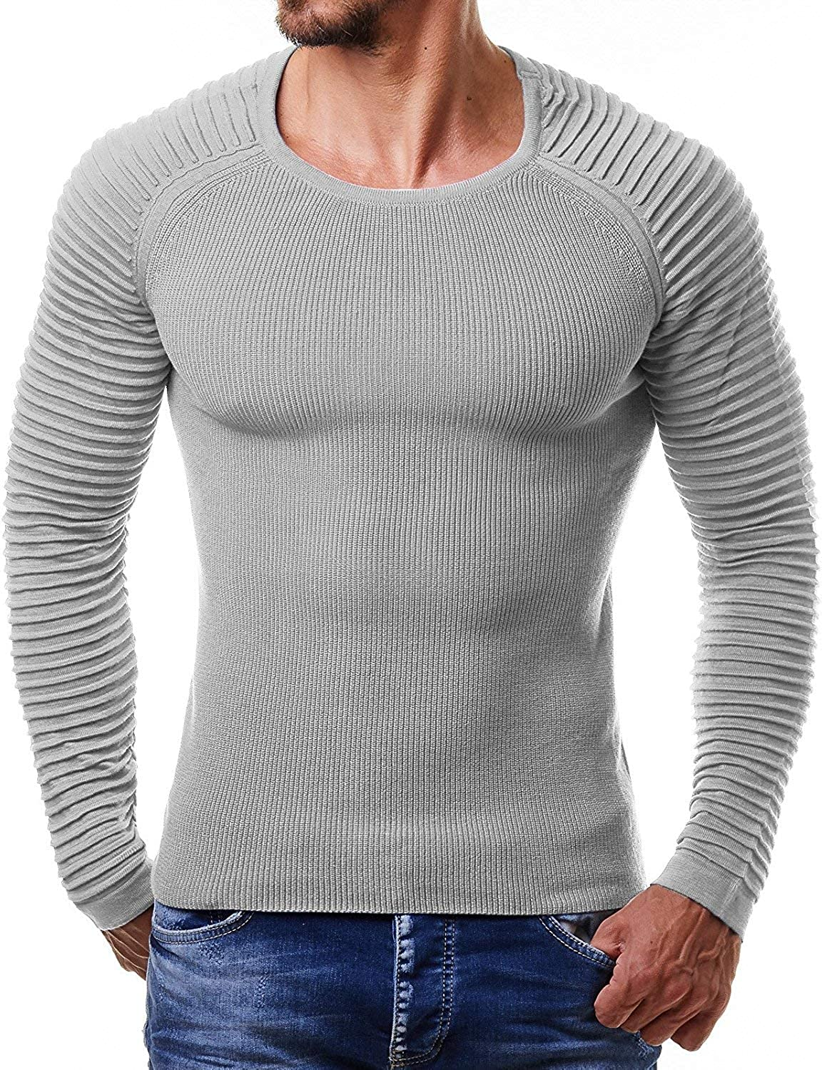 Beloved Mens Casual Crewneck Long Sleeve Colorblock Knitted Sweater Jumper
