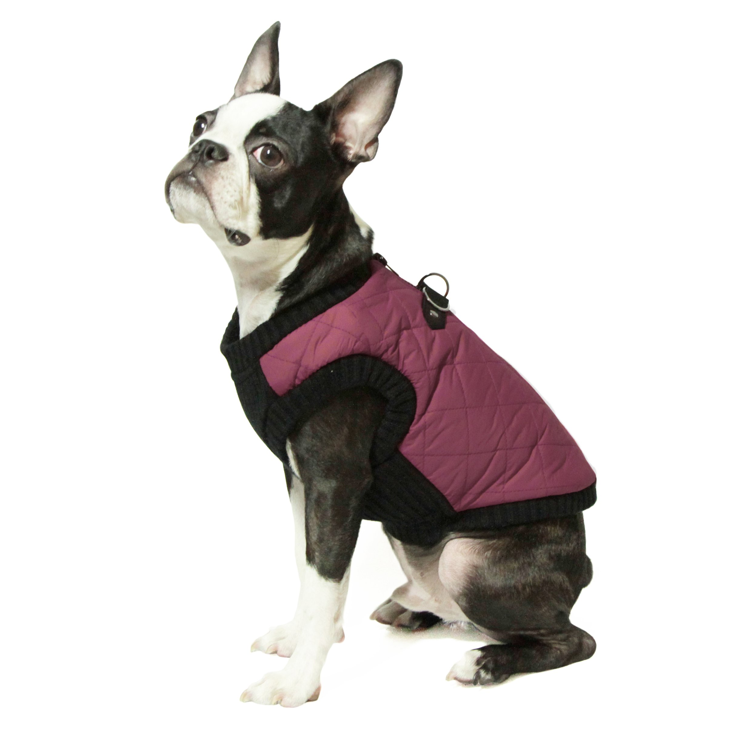 Gooby Fashion Quilted Bomber Dog Vest with Stretchable Chest, Purple, Small