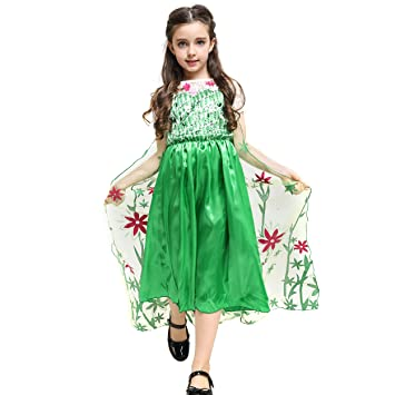 ee2ab6f92fed1 Katara - Girls Fancy Dress, Princess Elsa Frozen Fever Dress, With Flowers  and Sequins
