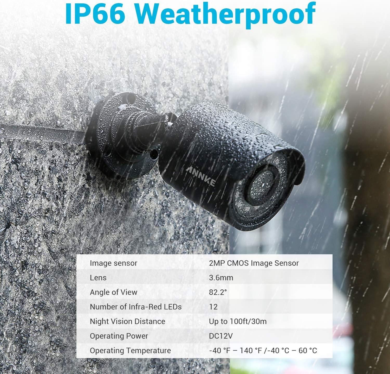 ANNKE Kit de Seguridad 1080P HD 4 C/ámaras Sistema de Vigilancia IR-Cut Visi/ón Nocturna IP66 Impermeable Interior//Exterio