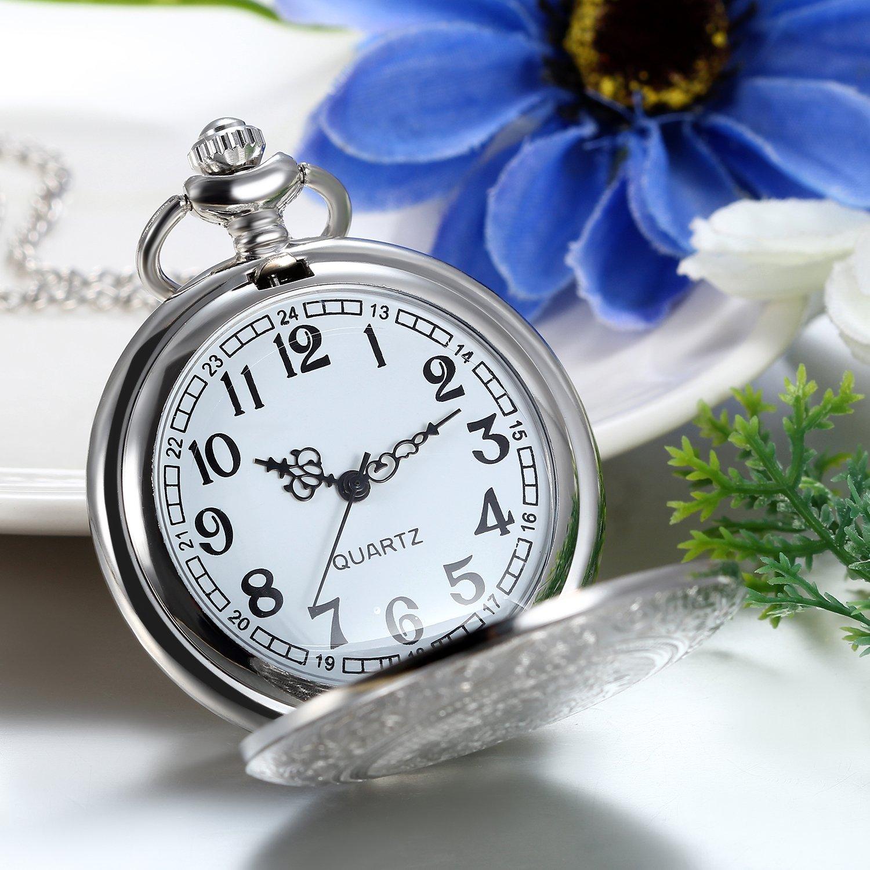 JewelryWe Reloj de Bolsillo Cuarzo, Floral Retro Vintage con Cadena Larga 80cm, Plateado Buen Regalo para Hombre Mujer: Amazon.es: Relojes